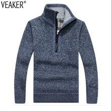88f32dc86d7 2018 осень зима новый для мужчин на молнии свитер пуловеры для женщин Стенд  воротник Slim Fit Толстые свитеры мужской сплошной ц.