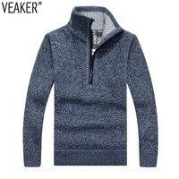 2019 осень зима новый мужской свитер на молнии пуловеры со стойкой воротником облегающие толстые свитера мужские одноцветные вязаные пулове...