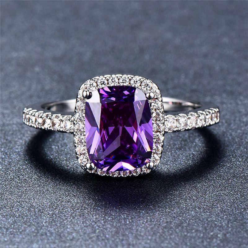 หรูหราหญิงสาวคริสตัล Cz แหวน 925 เงินสเตอร์ลิงสีขาวสีฟ้าสีม่วงสีเขียวแหวนสัญญาหมั้นแหวน