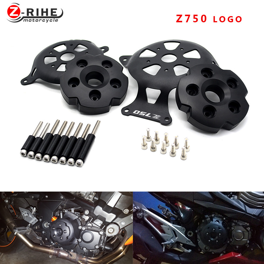 For Motorcycle Engine Stator Cover Engine Guard Protection Side Shield Protector For Kawasaki Z750 Z800 2013 - 2017 Z 750 800 13 4pcs set smoke sun rain visor vent window deflector shield guard shade for hyundai tucson 2016