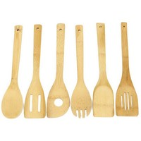6 Pieces Set Bamboo Cooking Tool Sets Eco Friendly Spoon Spatula Mixing Set Utensil Kitchen Wooden