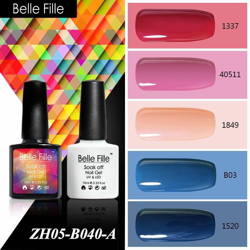 Belle Fille 10ml Pink Blue Nude Red LED UV Lamp Soak Off Nail Gel Polish Light Color UV Gel Khaki Coat Nail Gel Art Gelpolish