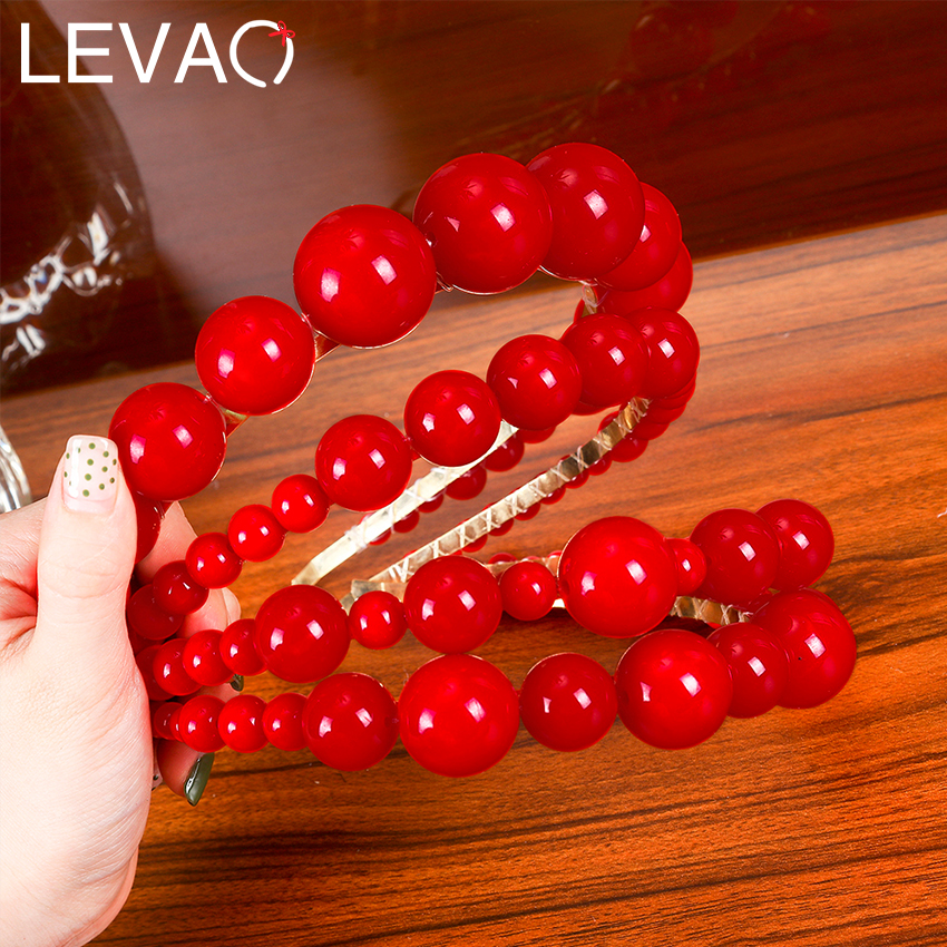 Levao New Hair Hoop Red Pearl Hairband Beaded Headband For Women Headwear Lady Party Hair Band Headbands Hair Accessories