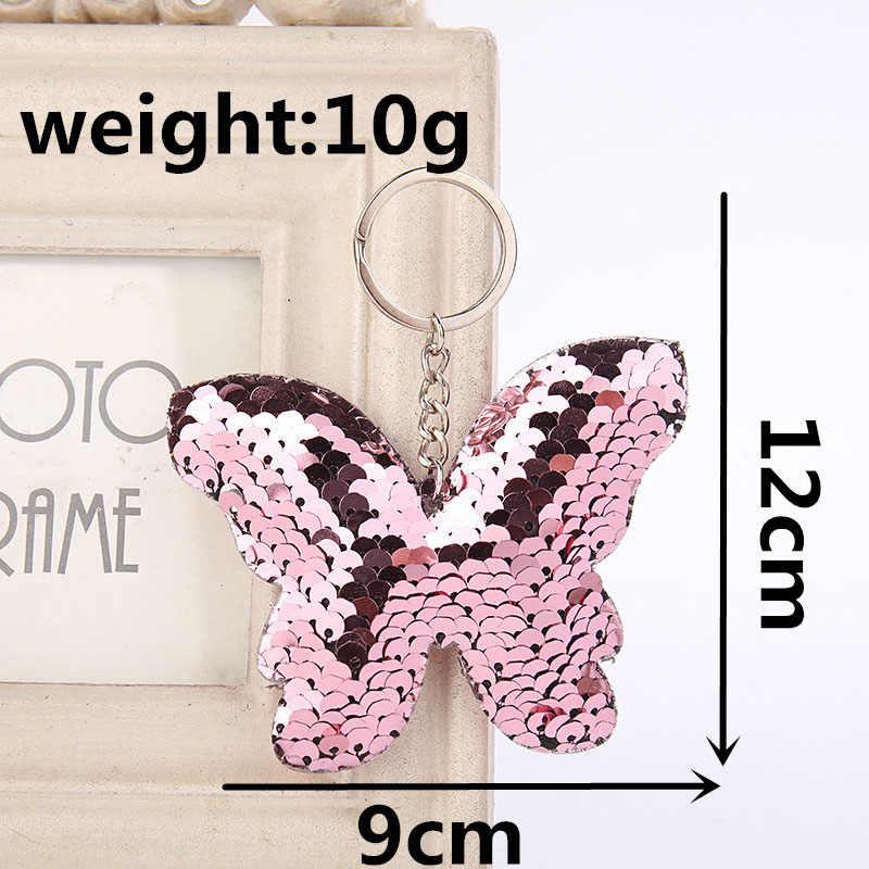 RE lindo mariposa llavero brillo pompón lentejuelas llaveros accesorios para mujeres bolsa encanto baratija anillo para las llaves del coche J2850