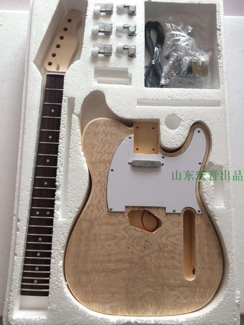 DIY Electric Guitar Kit Body Rosewood Fingerboard Maple Neck for TELE style diy electric guitar kit unique body rosewood fingerboard neck for lp guitar body african mahogany with a 15 mm of american har