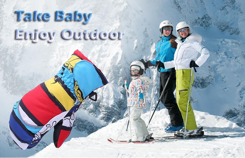 Queshark Waterproof Children Kids Winter Warm Skiing Gloves Snow Sport Mittens Outdoor Ski Snowboard Cyling Gloves 2
