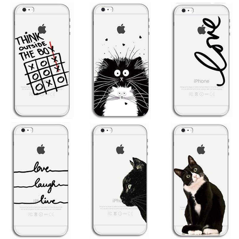 ТПУ мягкий чехол для Apple <font><b>IPhone</b></font> 5S 5 6 S 6 Plus кремния телефон чехол милый кот Чехол Для Телефона для 6 S 6 7 8 Plus X чехол для X PC-121