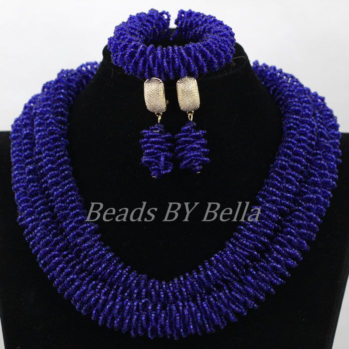 2017 latest design african jewelry sets blue seed beads costume wedding ideas indian necklace jewelry set