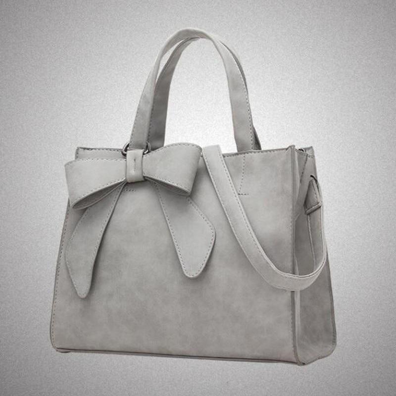Casual Bow PU Leather Handbag Large Capacity Tote Bag