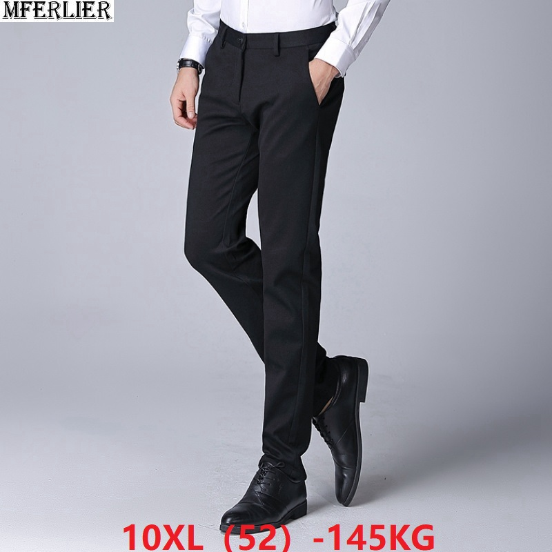 Men Suit Pants Cheap Formal Business Plus Size 8XL 9XL 10XL 48 50 52 Office Trousers Autumn Summer Straight Suit Pants Navy Blue