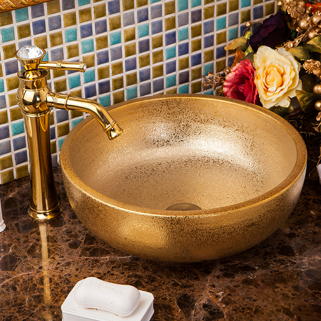 Gold Chinese Ceramic Art Basin Sink Counter Top Wash Basin Bathroom Vessel  Sinks Ceramic Vanity Washing
