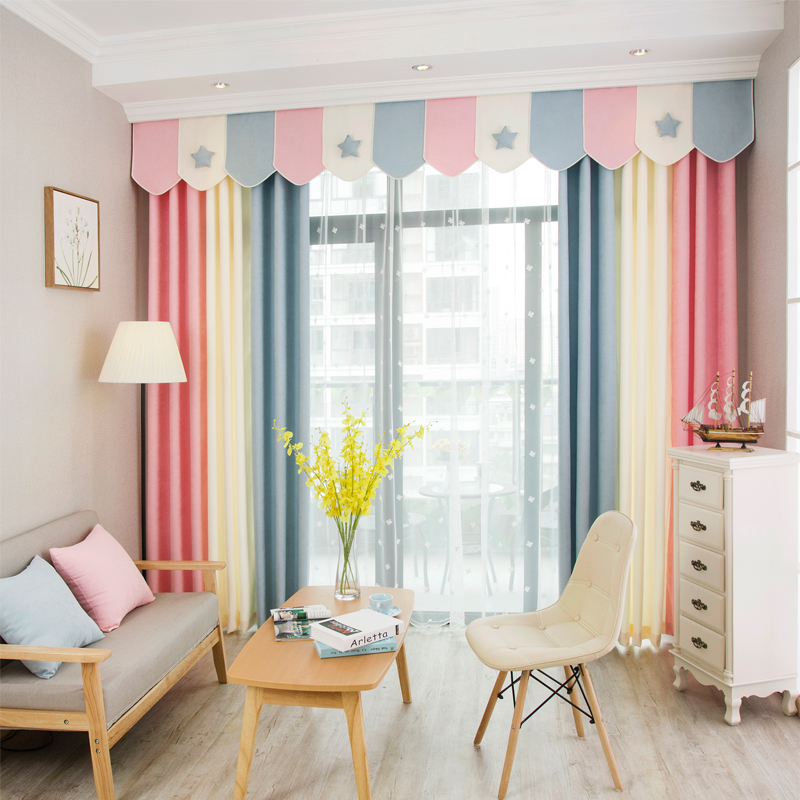 1 Panel Simple Style Splice Stripe Window Curtains for Living Room Quality and White Tulle Curtain Valance for Bedroom Curtain