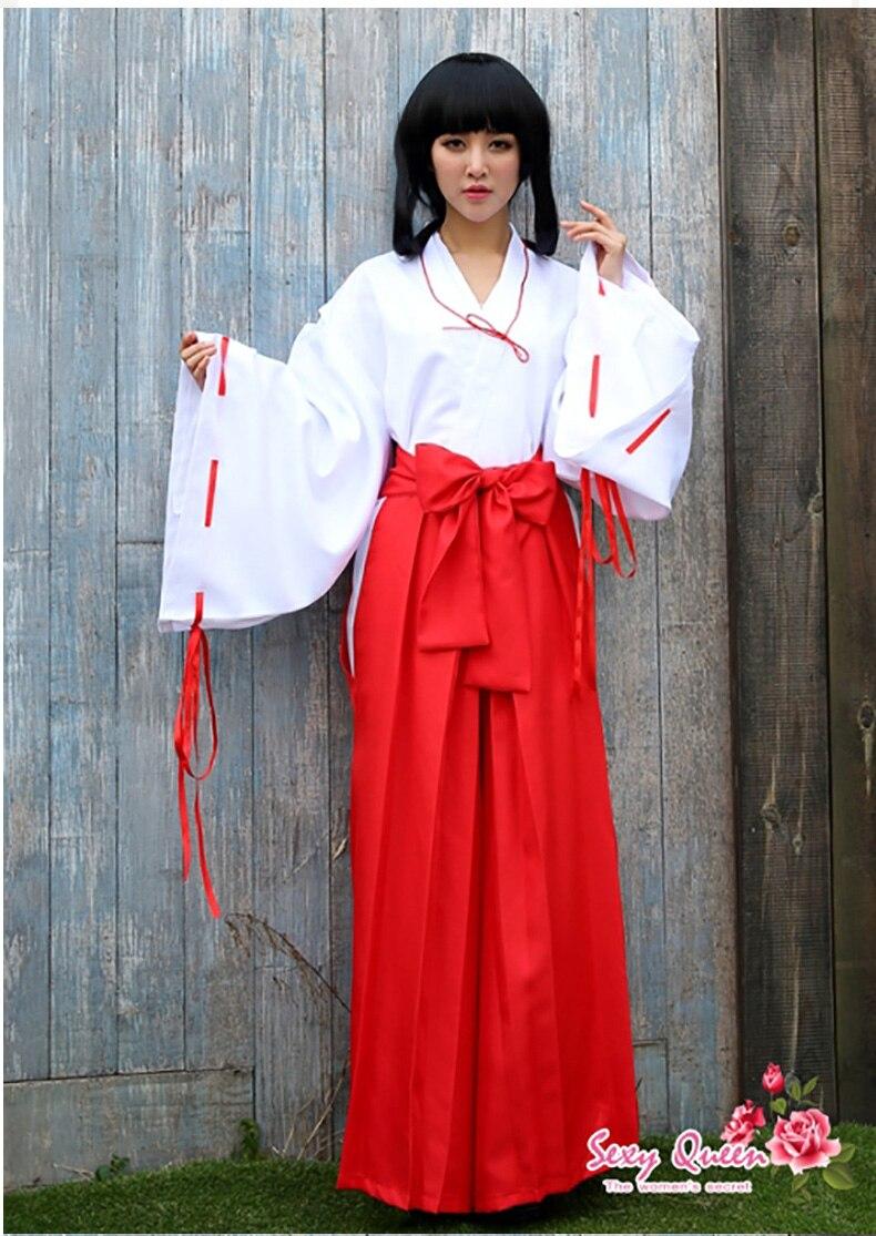 Kikyou dibujos animados traje trajes Inuyasha completo kimono Cosplay  trajes vestido de mujer + pelucas en de en AliExpress.com  ec28448529cf