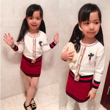 2 PCS/Set Brands White Cardigan Woolen Tops+Red Skirts Girl Kids Clothing 2017 New Autumn Spring Children's Set High Quality