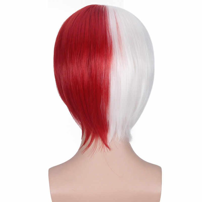 Pahlawan Saya Akademisi Shoto Todoroki Cosplay Wig Putih dan Merah Wig Pendek Boku No Hiro Akademia Teriakan Kepala Kostum