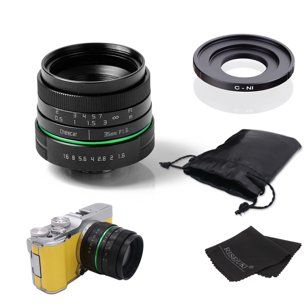 ФОТО New green circle 35mm APS-C CCTV camera lens For Nikon1:V1,J1,V2,J2 with C-N1 adapte rring + bag +gift free shipping
