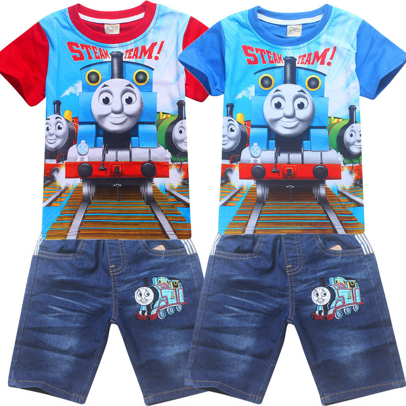 Summer Thomas Costume Boy Short Sleeve T-shirt + Pant Cotton Suits Children Clothing Baby Kids Boys Shorts Jeans Sports Sets