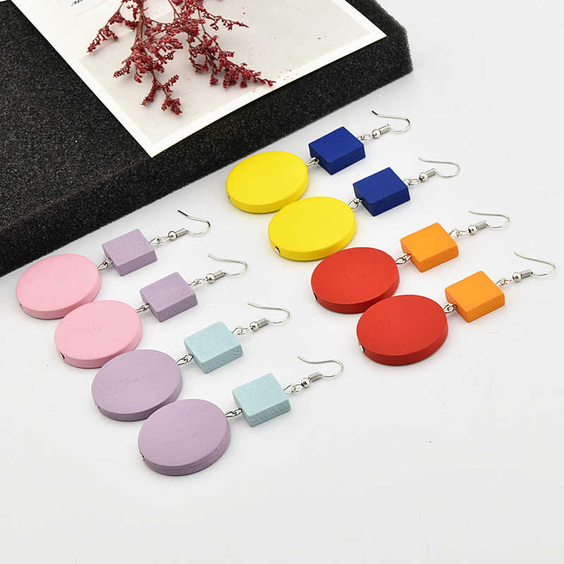 Korean Popular Geometric Earrings Square Long Statement Round Wooden Dangle Drop Earrings For Women Earings Fashion Jewelry 2019