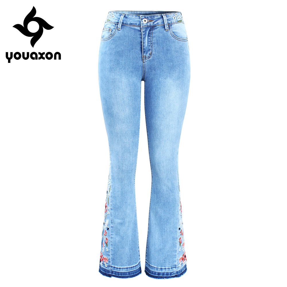 2152 Youaxon New Arrived Embroidery Flare Jeans Woman Ultra Stretchy Skinny Denim Pants Trousers For Women-in Jeans from Women's Clothing