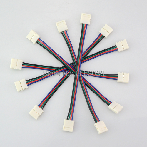 4pin RGB Led Strip No Soldering Double Connector Clip Cable Led Tape Extension Wire For 3528 5050 RGB Strip light Accessories