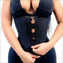 Corset Body Shaper Women Latex Waist Trainer with Zipper Underbust Cincher Waist Shaper Slimming Hot Shaper Belt Black Plus Size