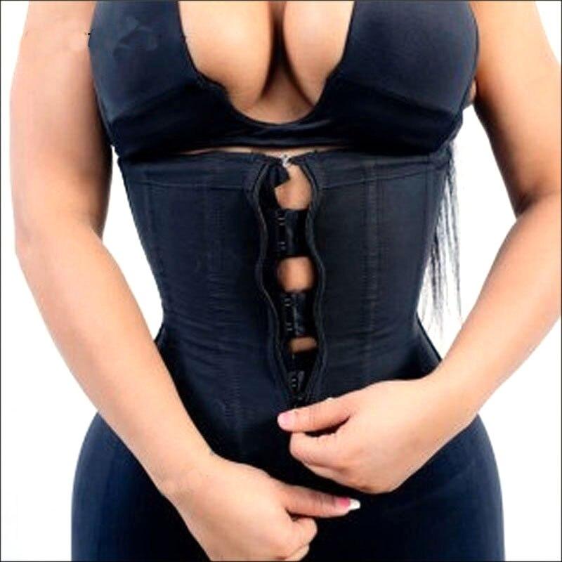Corset Body <font><b>Shaper</b></font> Women Latex Waist Trainer with Zipper Underbust Cincher Waist <font><b>Shaper</b></font> Slimming <font><b>Hot</b></font> <font><b>Shaper</b></font> Belt Black Plus Size