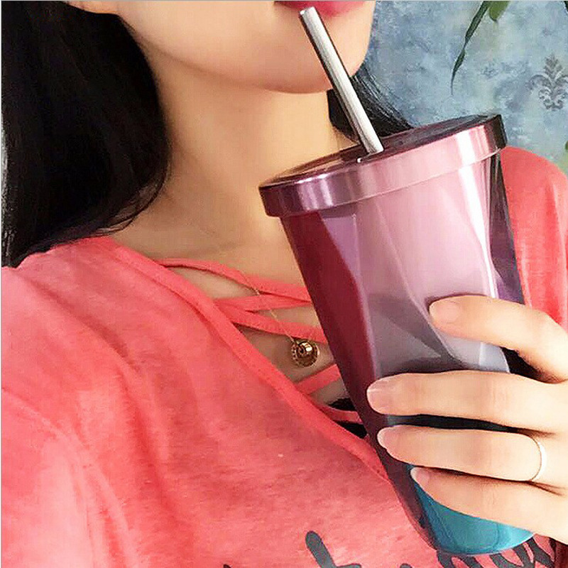 The New Net Red Special Coffee Creative Diamond 304 Stainless Steel Insulation Gift Cup Termos Thermos Colorful Straw With Lid