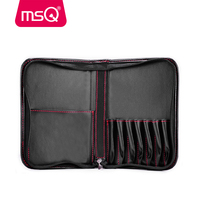 MSQ Stylish Black Makeup Bag High Quality PU Leather Make Up Case For Professional Makeup Artist