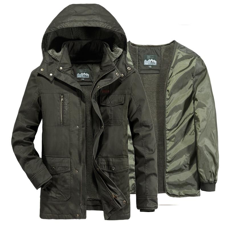 AFS джип зимнее пальто Мужская Флисовая подкладка Съемная военная зимняя куртка Мужская Ветровки длинное пальто парка hombre Большие размеры 6XL