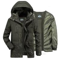 AFS JEEP winter coat men fleece liner detachable military winter jacket men's windbreakers long coat parka hombre plus size 6XL