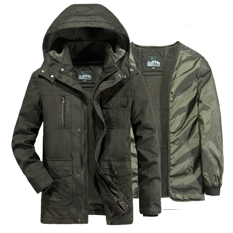 AFS JEEP winter coat men fleece liner detachable military winter jacket men's windbreakers long coat parka <font><b>hombre</b></font> plus size <font><b>6XL</b></font> image