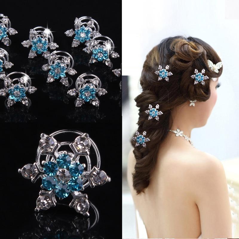 Hair-Accessories Jewelry Hair-Pin-Clips Snowflake Crystal Bridesmaid-Hair Bridal Blue