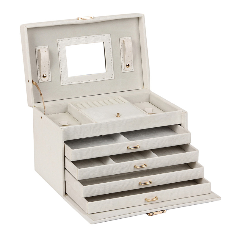 Jewellery Box Cream Faux Leather Large Three Drawer with key