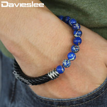 Beaded Bracelet For Men Woman Blue Stone Black Leather Bracelets Dropshipping Magnetic Clasp Male Jewelry 8mm LDLB115(China)