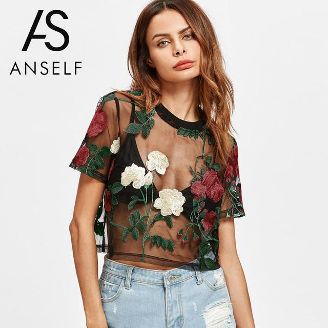 145d431df2c8a2 Anself Sexy Women Sheer Mesh Top Floral Embroidery Short Sleeve Summer  Blouse 2019 New Hot See