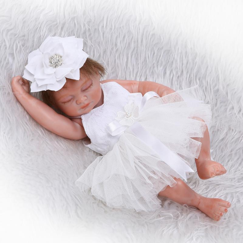 NPK newborn silicone baby Mixed silicone material Lifelike Baby Dolls Close eyes Girl baby Bath Toy For Gift