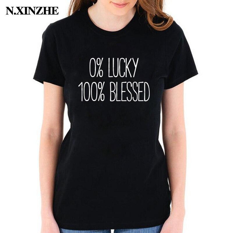 0 por ciento Lucky 100 bendecido lema Camisetas Tees divertido fiel regalo fe Jesús bendecido camiseta mujer negro blanco camiseta camisa