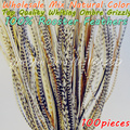 100pcs 6-12 Fly Tying Grizzly Saddle Natural Hair Rooster Feathers Ombre Grizzly Extensions Hair Accessories for Women Styling