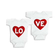 YSCULBUTOL LOVE Baby Outfits Twin Baby Bodysuit Shirts Matching Shirts Twin Baby Shower Gifts(China)