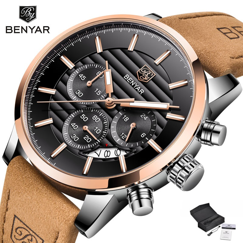 <font><b>BENYAR</b></font> Top Brand Men's Watches Luxury Leather Strap Quartz Men Wristwatch Fashion Sport Analog Male Timing Clock reloj hombre image