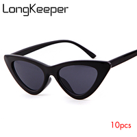 Long Keeper Women Sexy Cat Eye Sunglasses 2018 New Fashion Brand Designer Ladies Retro Clear Sun