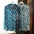 EQ 100% real silk Bohemia style women long sleeve shirts Equipment ladies silk blouses spring autumn