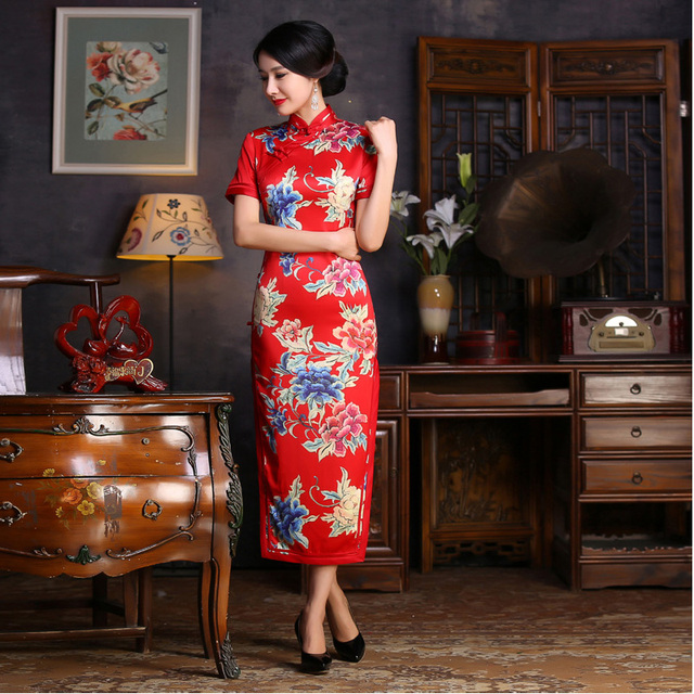 Chinese Long Cheongsam Dress Women Satin Qipao Red Wedding Dresses Vintage Evening  Dress Vestidos Oriental Robe 978f177fcee5