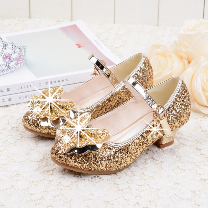 Flowers Girls Princess Shoes Sandals New Brand Summer Children Wedding Shoes For Student Glitter Kids Party Shoe Size Sandals     -