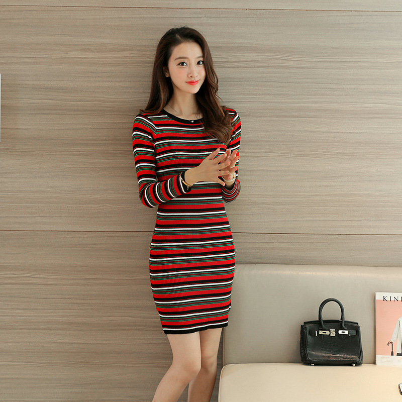 Sweet long sleeved font b sweater b font slim slim package hip dress 2016 new winter