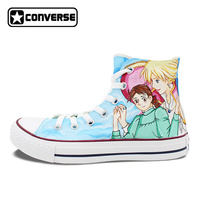 Women Men Converse Chuck Taylor Anime Shoes Howl's Moving Castle Design Hand Painted Shoes Man Woman High Top Sneakers Gifts