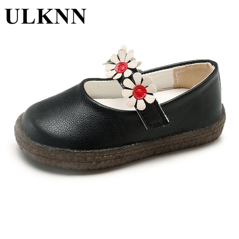 ULKNN Princess flat shoes 2018 autumn new fashion girls shoes childrens baby soft bottom shoes flowers school