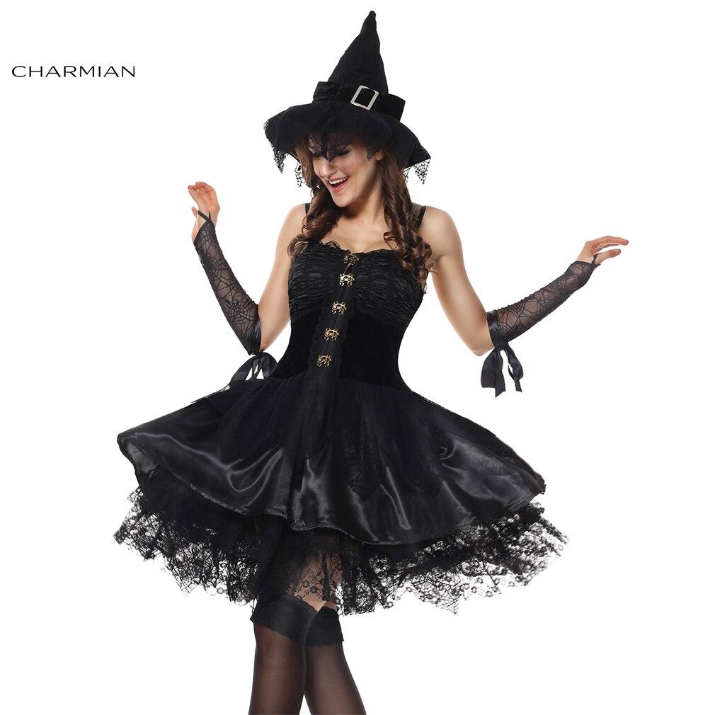 Charmian Gothic Sorceress Witch Velvet Corset Dress Halloween Cosplay Costume for Women Fantasias Feminina Para Festa