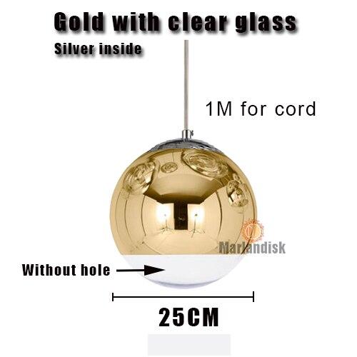 Привлекательный медный/серебристый стеклянный абажур серебристый внутри зеркальный подвесной светильник E27 светодиодный подвесной светильник стеклянный шар лампы для гостиной(DH-50 - Цвет корпуса: 25CM Gold