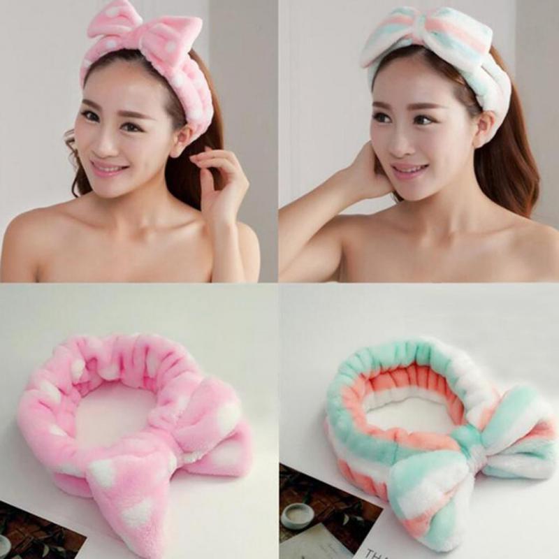 New Brand Lovely Womem Ladies Girl   Headwear   Bow Dot Striped Soft Shower Hair Band Wrap Headband Bath Spa MakeUp Cute   Headwear   B1